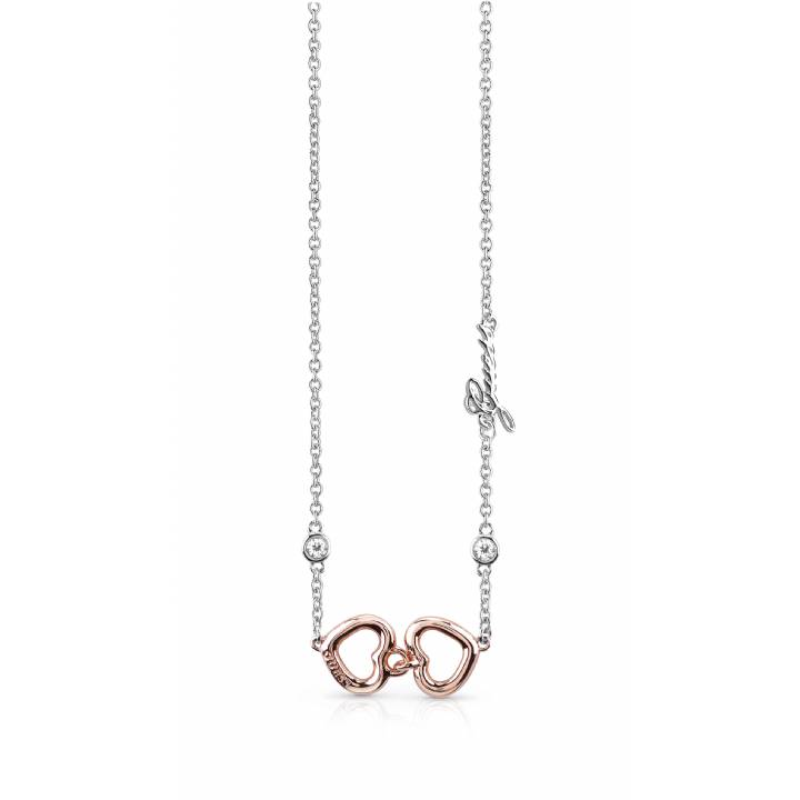 Guess Rhodium & Rose Grace Heart Necklace, Was £59.00