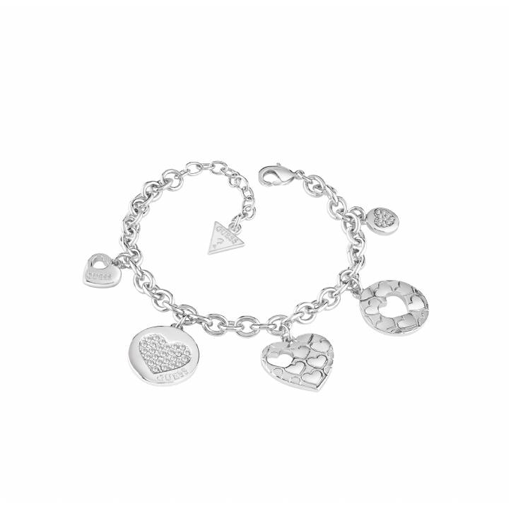 Guess Rhodium Plated Multi Heart Bracelet, Was £69.00