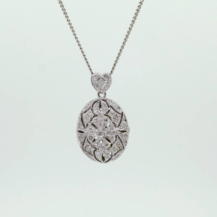 Pre-Owned 18ct White Gold Diamond Locket Pendant 0.50ct