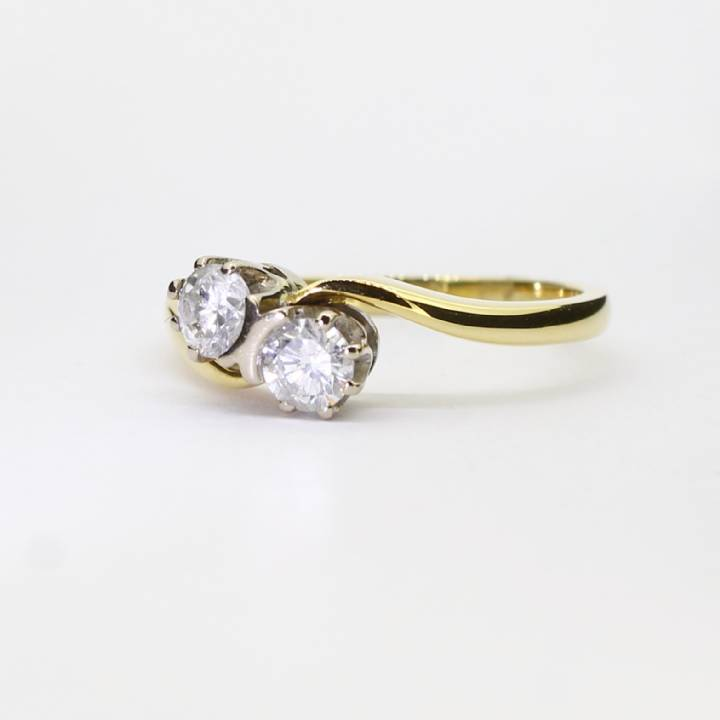 Pre-Owned 18ct Yellow Gold Diamond 2 Stone Ring 0.52ct Total