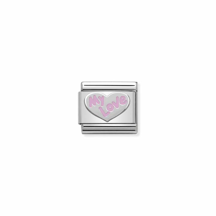 Nomination Steel & Pink Enamel 'MY LOVE' Charm