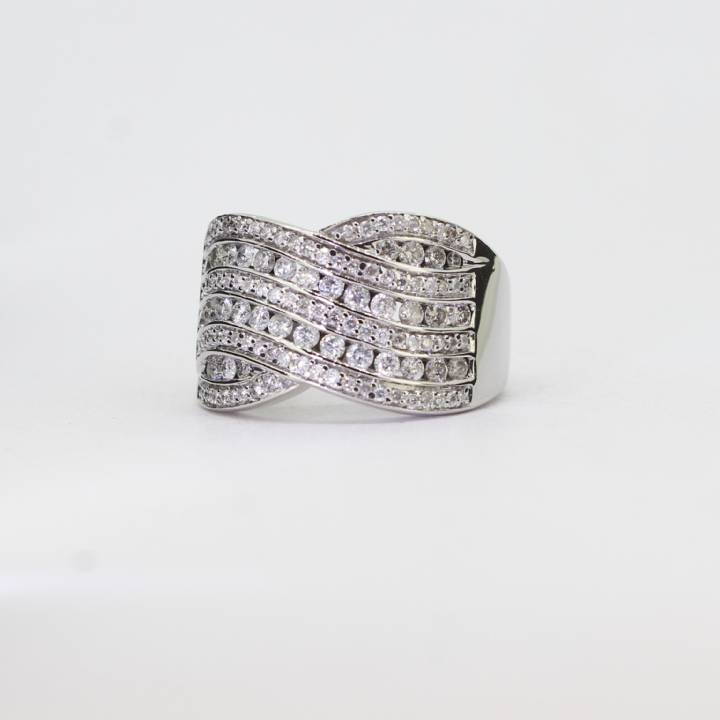 36ee037a6 Pre-Owned 18ct White Gold Wide Diamond Band Ring 1.00ct