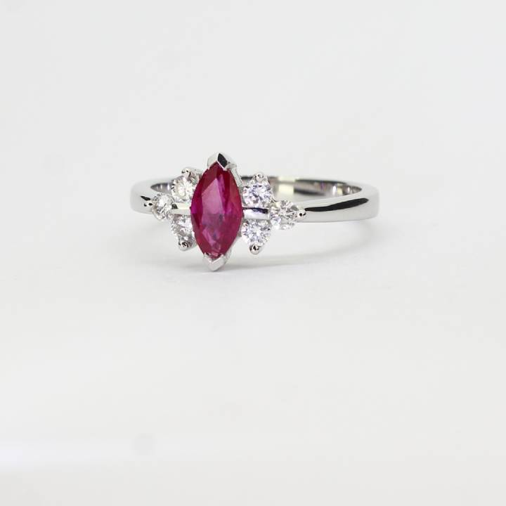 18ct White Gold Diamond And Ruby Ring 0535010