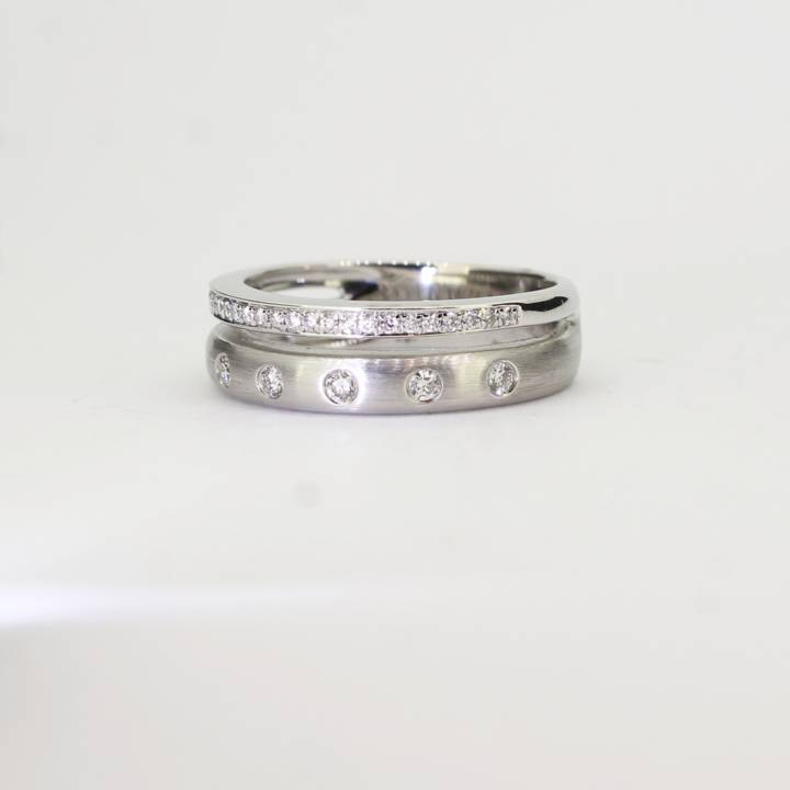 18ct White Gold Diamond 2 Band Ring 0.23ct Total