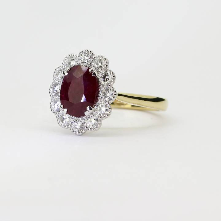 18ct Yellow Gold Diamond And Ruby Cluster Ring