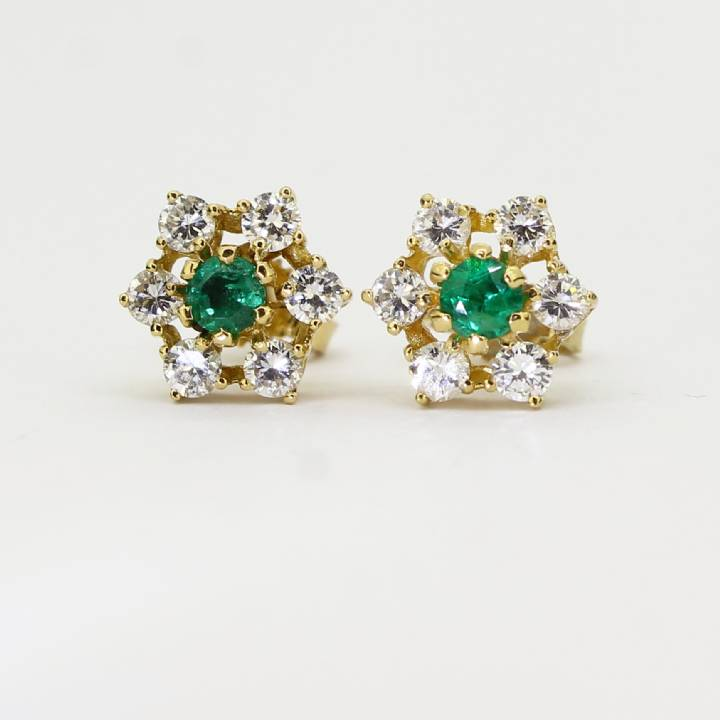 Pre-Owned 18ct Yellow Gold Diamond & Emerald Earrings 1607489