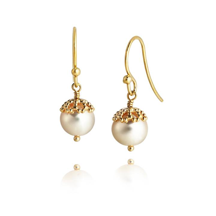 Jersey Pearl Gold Plated Silver Pearl Drop Earrings, Was £65.00
