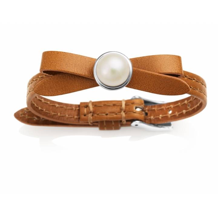 Jersey Pearl Joli Chocolate Leather & Pearl Bracelet, Was £85.00