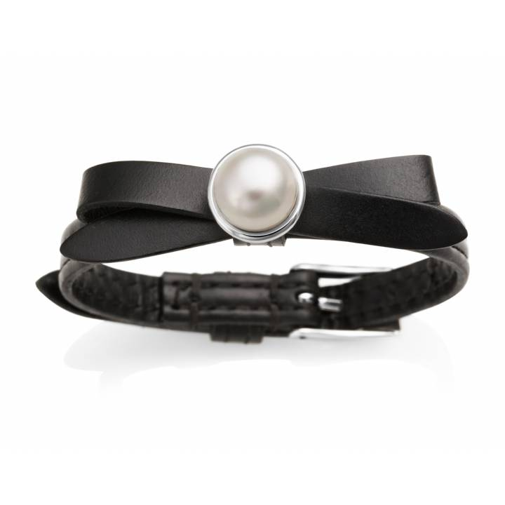 Jersey Pearl Joli Black Leather & Pearl Bracelet, Was £85.00
