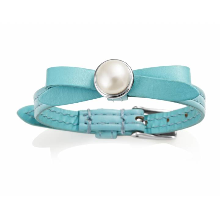 Jersey Pearl Joli Blue Leather & Pearl Bracelet, Was £85.00