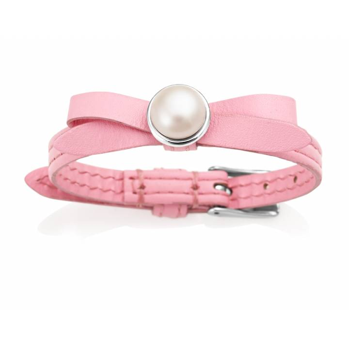 Jersey Pearl Joli Pink Leather & Pearl Bracelet, Was £85.00