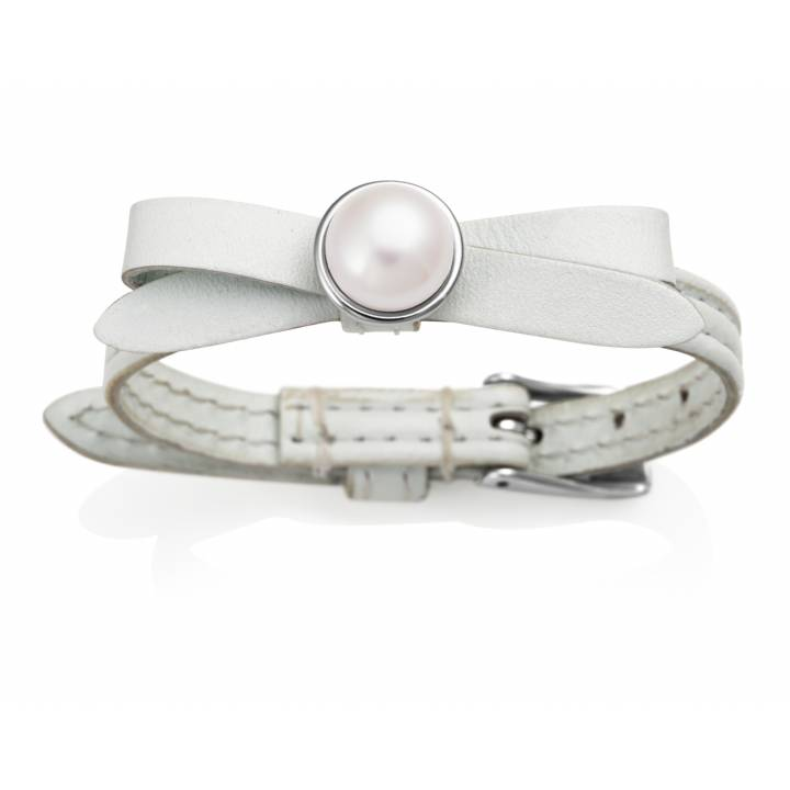 jersey Pearl Joli White Leather & Pearl Bracelet, Was £ 85.00