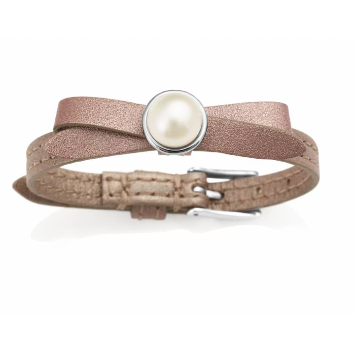 Jersey Pearl Joli D'or Leather & Pearl Bracelet, Was £85.00 1414036
