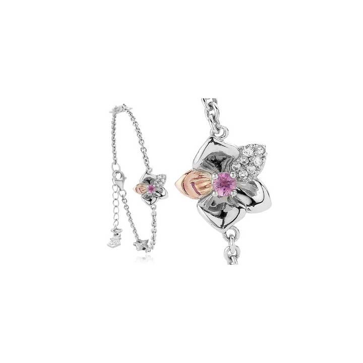 Clogau Silver & Rose Gold Orchid Bracelet, Was £149.00 1415024
