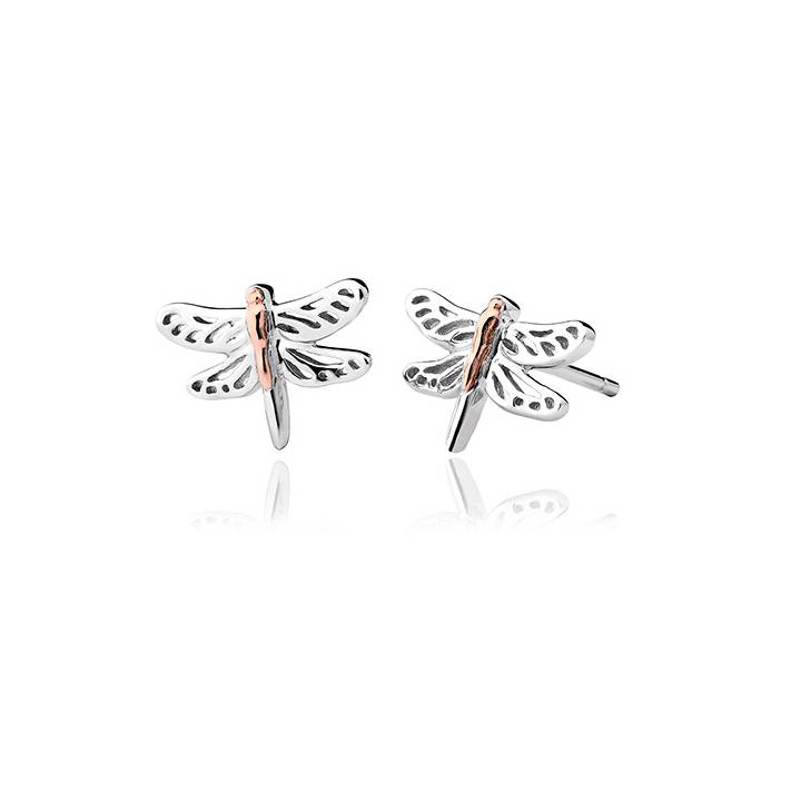 Clogau Silver & Gold Damselfly Stud Earrings, Was £79.00