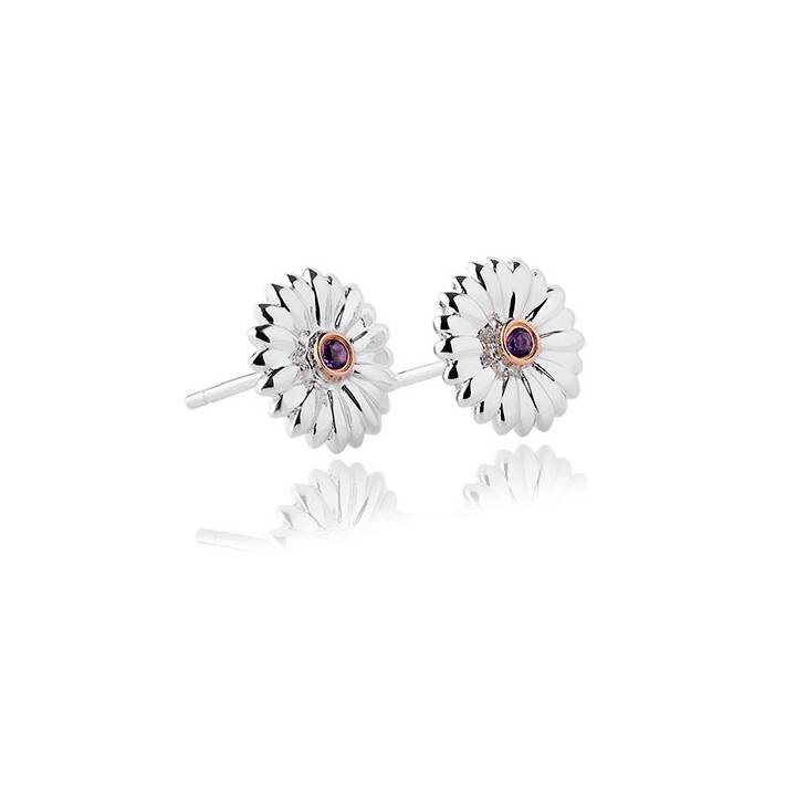 Clogau Silver & Gold Amethyst Flower Stud Earrings, Was £99.00
