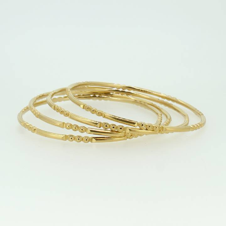 Pre-Owned 4 x 22ct Yellow Gold Patterned Bangles 1517119