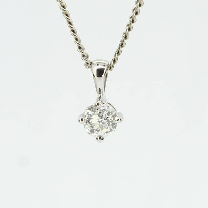 Pre-Owned 18ct White Gold Diamond Solitaire Pendant 0.62ct