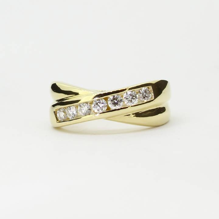 Pre-Owned 18ct Yellow Gold Diamond Cross Band Ring 0.28ct Total