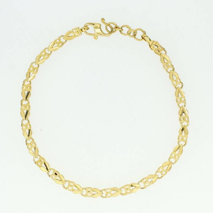 Pre-Owned 22ct Yellow Gold Daimond Cut Bracelet