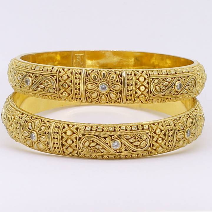 Pre-Owned 22ct Yellow Gold Twin Set Bangles Set with Stones