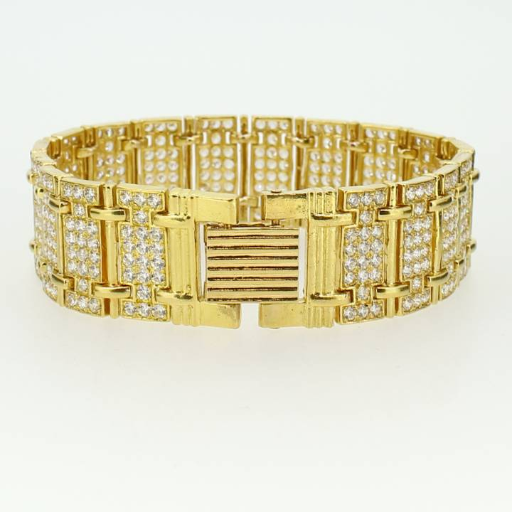 Pre-Owned 22ct Yellow Gold White Stone Set Bracelet