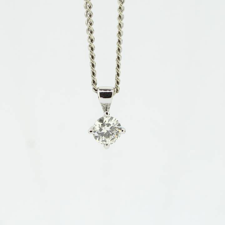 Pre-Owned 18ct White Gold Diamond Solitaire Pendant 0.38ct 7113224