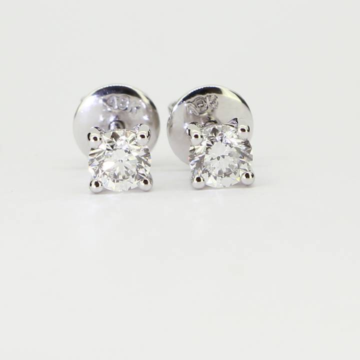 Pre-Owned 18ct White Gold Dia Sol Stud Earrings Total 0.62ct