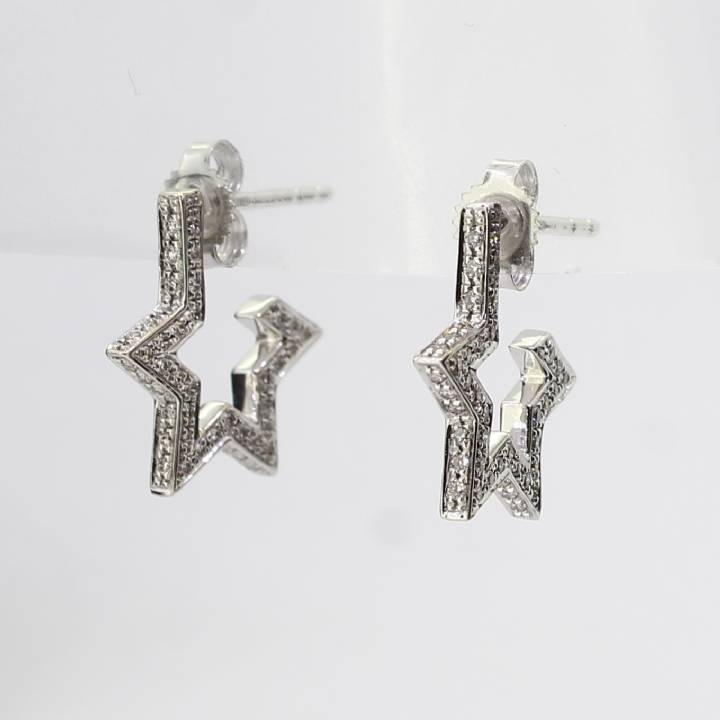 Pre-Owned 18ct White Gold Diamond Star Earrings Total 0.50ct 1607499