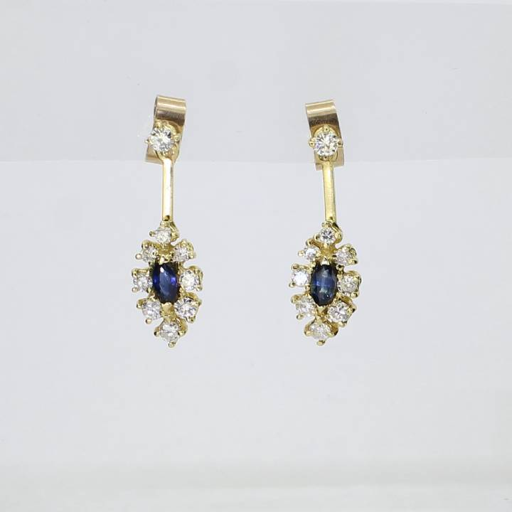 Pre-Owned 18ct Yellow Gold Diamond & Sapphire Drop Earrings 1607521