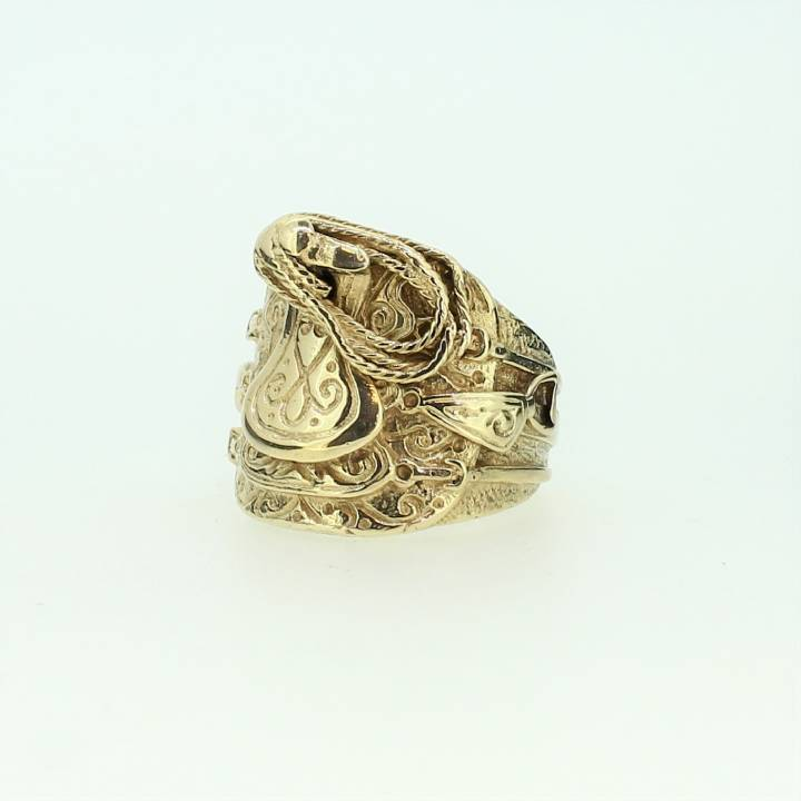 Pre-Owned Gents 9ct Yellow Gold Saddle Ring