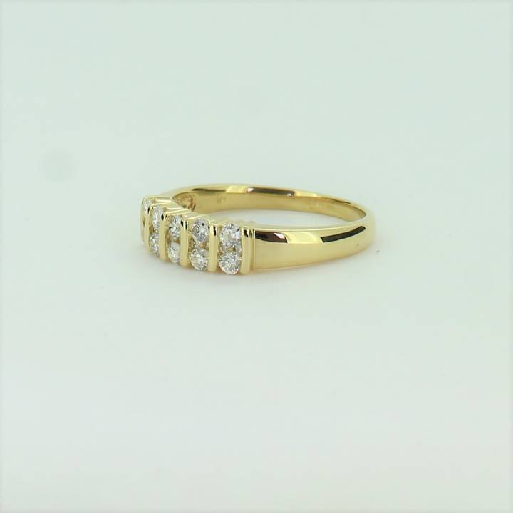 Pre-Owned 18ct Yellow Gold Diamond 2 Row Ring Total 0.50ct