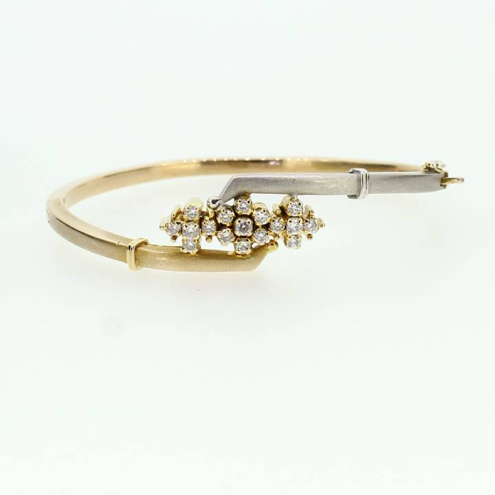 Pre-Owned 18ct 2 Colour  Gold Diamond Bangle 0.55ct Total