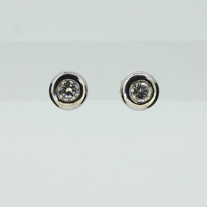 Pre-Owned 18ct Gold Diamond Solitaire Earrings 0.68ct Total