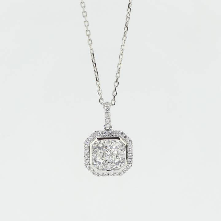 18ct White Gold Diamond Cluster Pendant & Chain 0.80ct Total 0544601