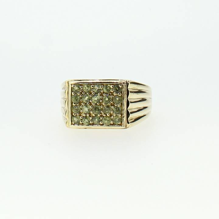 Pre-Owned Gents 9ct Yellow Gold Green Sapphire Ring 1508533