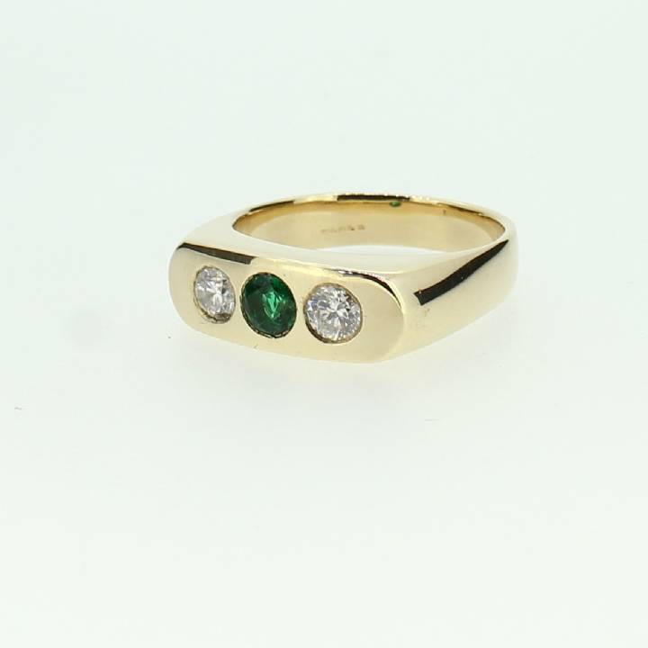 Pre-Owned Gents 9ct Yellow Gold Daiamond & Emerald Ring 7115045