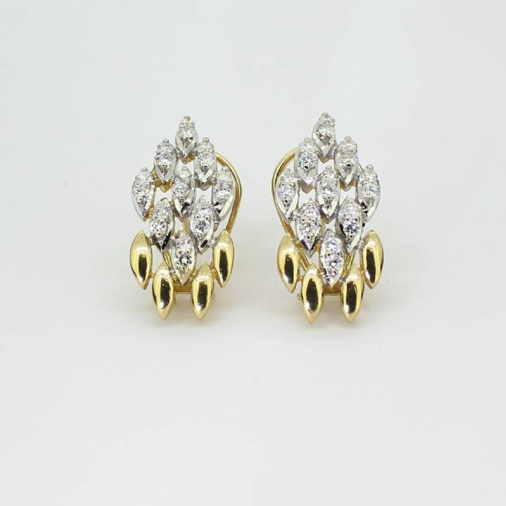 Pre-Owned 18ct Yellow Gold Diamond Cluster Earrings Ttl 0.72ct 7113246