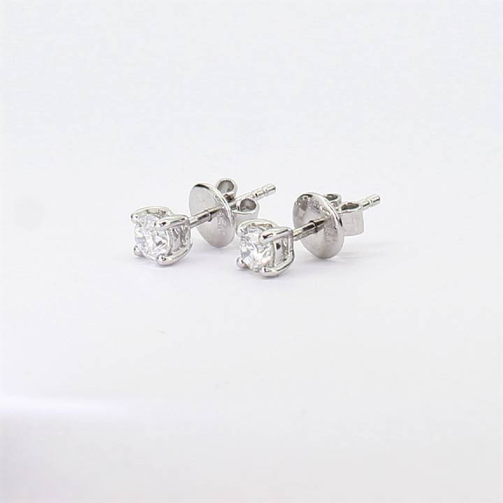 Pre-Owned 18ct White Gold Diamond Solitaire Earrings 0.64ct
