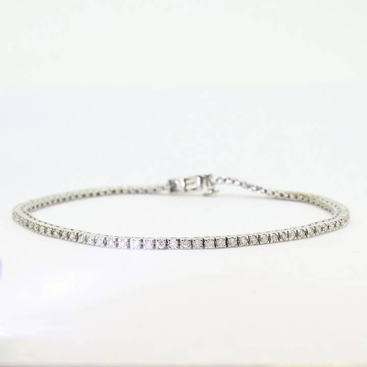 Pre-Owned 9ct White Gold Diamond Line Bracelet 1.00ct Total