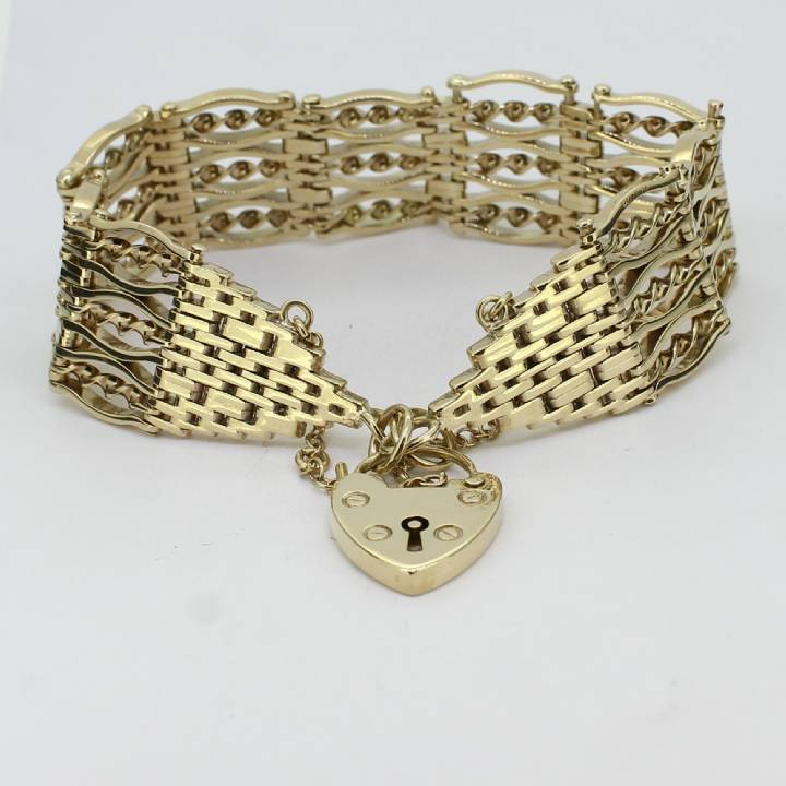 Pre-Owned 9ct Yellow Gold Fancy Gate Bracelet 1503995