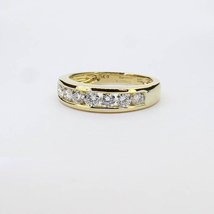 Pre-Owned 18ct Yellow Gold Diamond Half Eternity Ring 0.75ct 1603292