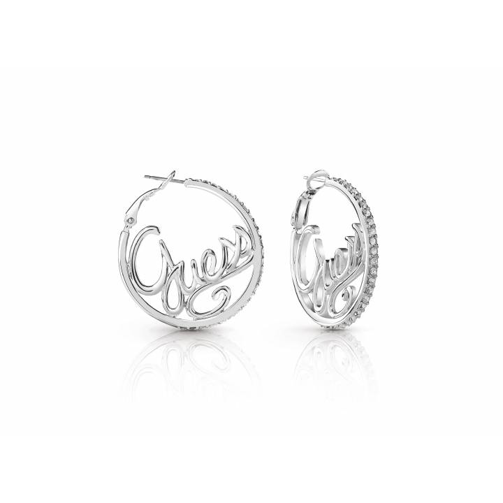 Guess Rhodium Plated Authentic Hoop Earrings, Was £39.00 1401688