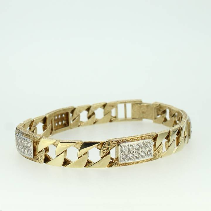 Pre-Owned Gents 9ct Yellow Gold Stone Set Curb Bracelet