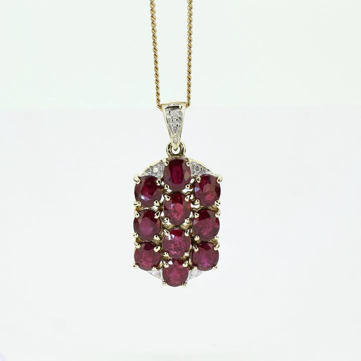 Pre-Owned 18ct Yellow Gold Diamond & Ruby Cluster Pendant