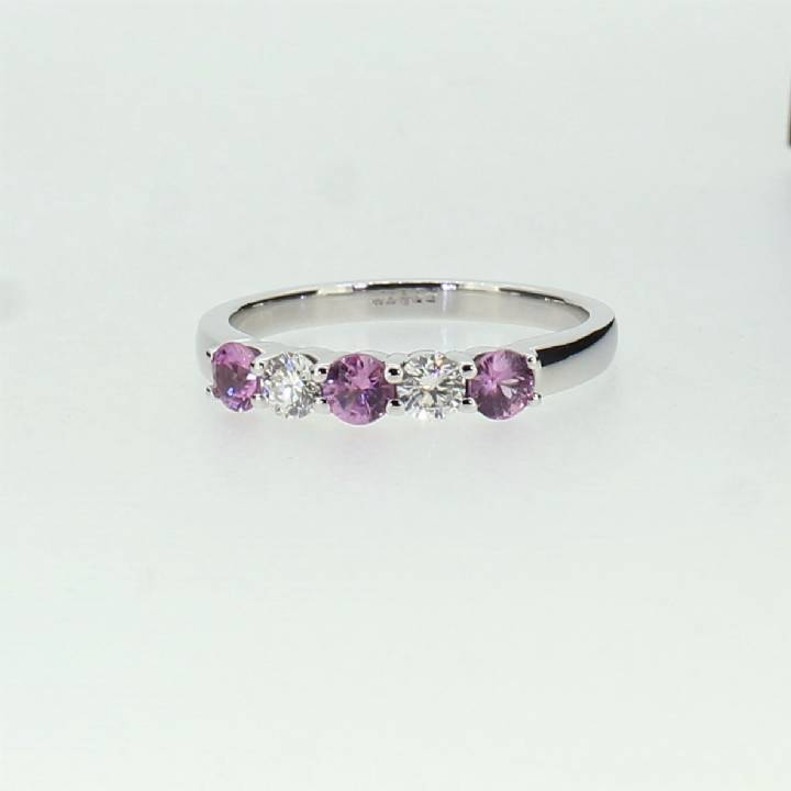 Pre-Owned 18ct White Gold Diamond & Pink Sapphire Ring