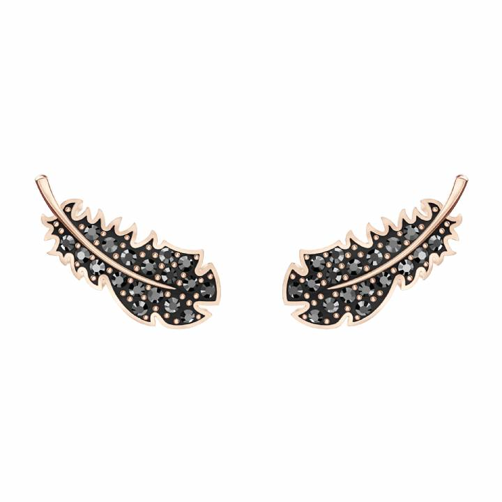 Swarovski Naughty Black Feather Rose Tone Stud Earrings, Was £49