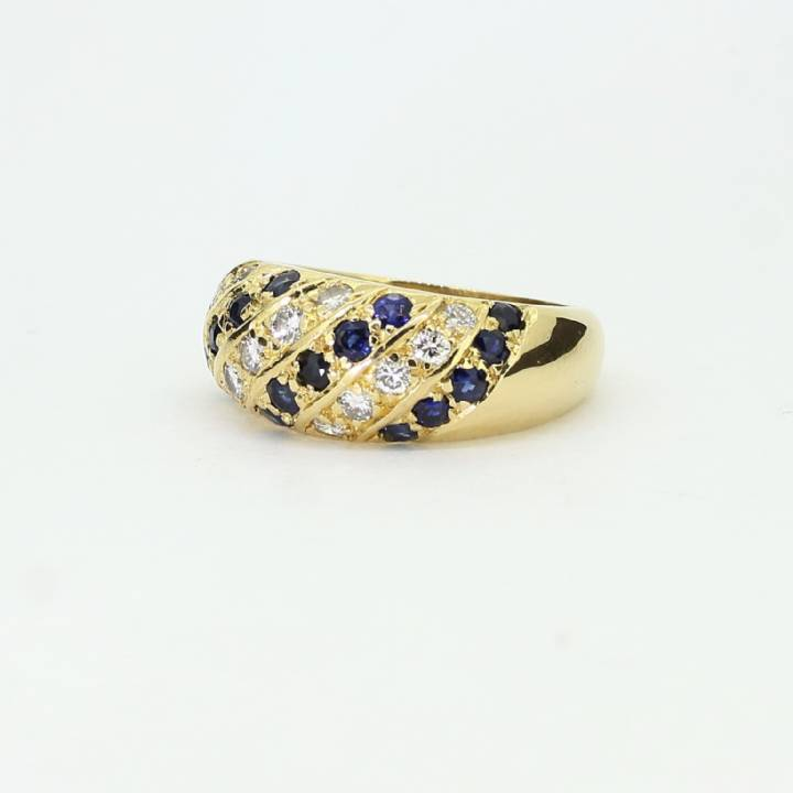 Pre-Owned 18ct Yellow Gold Diamond & Sapphire Dome Ring