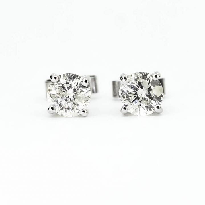 Pre-Owned 18ct Diamond Solitaire Earrings Total 1.12ct 1607614