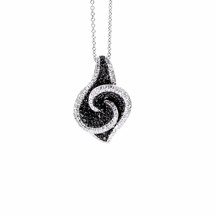 Pre-Owned 18ct Black And White Diamond Pendant And Chain 1607236